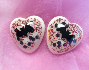 Heart Shape with Halloween Bats and Glitter Lucite Earrings