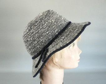 Women Navy Tweed Winter Hat