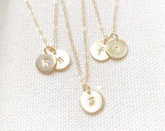 SALE - Tiny Customized Initial 9mm Two Disc Necklace in gold - Small Dainty Circle Disc Charm - Personalized - Bridal Gift - Layer Necklace