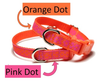 """Orange Dots and Hot Pink Dots Dog Collar - 1/2"""" (13mm) Wide - Thin Dog Collar - your choice of style, pattern and size"""
