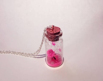 Valentine's Day Gift Pink Rose in Mini Glass Bottle Pendant, Handmade Rose Necklace & Accessory, Chain Necklace Included
