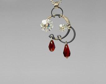 Siam Swarovski Crystal Industrial Pendant, Red Swarovski Crystals, Crystal Ab, Wire Wrapped, Swarovski Necklace, Bridal Jewelry, Hestia v7