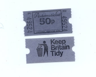 Ten Retro British Tickets - Mixed Media, Costumes, Collage, Artist Trading Cards