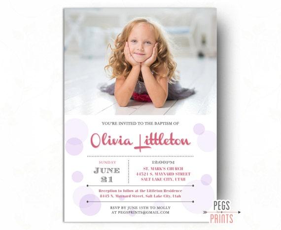 LDS bautismo invitación muchacha invitación de bautismo para