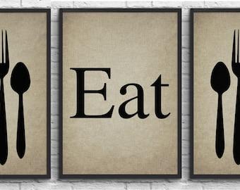 Set of 3 Prints, Rustic Kitchen Art Print 'Eat', Fork Spoon Knife Art, Set of Typography, Kitchen Decor, Wall Decor. #11