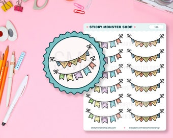Garland - Flags - Bunting - Pennants - Hand drawn Stickers- Planner Stickers [138]