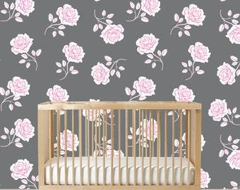 Rose Decals - Modern Wall Decals - Rose Wall Mural - Girl Nursery Decals - Rose Walls - Vinyl Decals