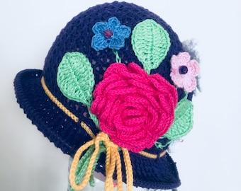 Summer crochet hat pattern, cloche hat pattern, Panama hat, spring hat, girl hat pattern, summer hat PDF
