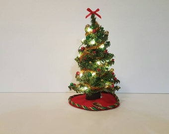 Dollhouse miniature Christmas Tree( Red, Green and Gold Trim) with lights