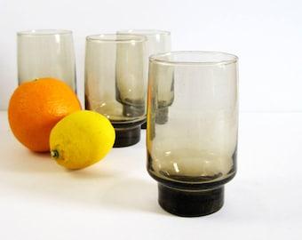 Set of 4 or 6 Vintage Libbey Glasses - Smoky Brown Glass Tumblers 10 oz Juice Glasses - Vintage Barware Cocktail Party Decor Retro Drinkware