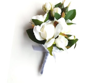 Wedding Corsage (Pin-on) - Ivory Rosebuds, Wedding Flowers for Mothers