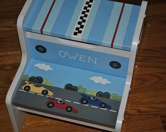 Kids Personalized 2 Step Stool - Race Cars