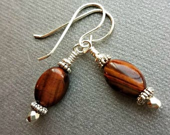 Red tiger's eye earrings on silver with pewter spacers//petite tigers eye earrings//tigers eye earrings on silver