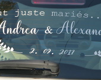 Sticker mariage à personnaliser pour voiture. Sticker just married .Custom car decal