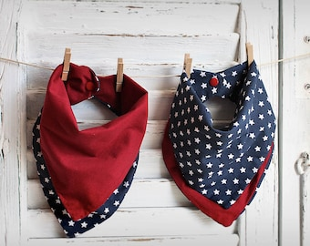 Reversible Bandana Baby Bib Blue and Red Stars