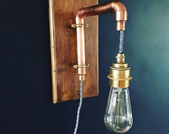 Copper Pipe Industrial Wall Light Wooden Monochrome cable E27 vintage retro bulb