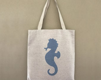 Custom Tote Bag Seahorse Customizable Personalized Gift For Her Gift For Him Beach Ocean Sea Farmers Market Shopping Bulk
