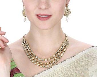 Indian Necklace Set/Indian necklace | Wedding Jewelry/ Indian Jewelry |Indian Bridal Jewelry | Kundan Jewelry | Indian Wedding Jewelry