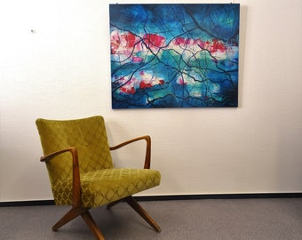 Painting abstract 100 cm x 80 cm acrylic on canvas blue Pink