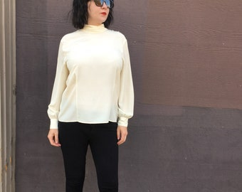 80s Creme Colored Blouse/ womens size 14