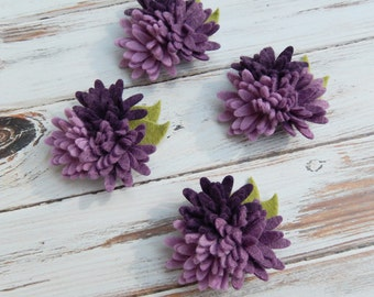 Wool Felt Fabric Flowers - Mini Daisies Purples Trio - Set of 4 with Leaves