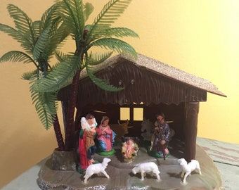 Vintage Plastic Christmas Nativity Scene Set Display