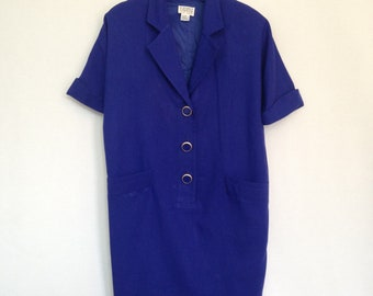 1990s royal blue boxy dress by KATHRYN CONOVER New York, sz 8 - made in USA