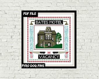Bates Motel Modern Cross Stitch Pattern PDF - Psycho - Instant Download