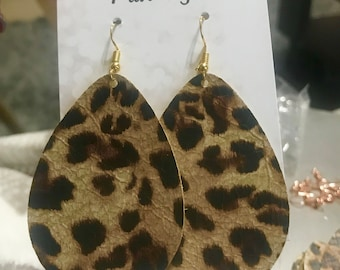 Leather Leopard Teardrop Earrings