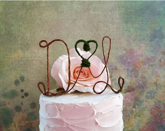Rustic Initials Wedding Cake Topper, Monogram Wedding Cake Topper, Rustic Cake Decoration, Wedding Centerpiece, Wedding Table Decoration,