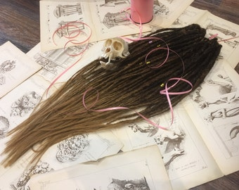 DARK FAUN synthetic dreads extensions transitional color from dark brown to gold brown to redhead double or single ended dreadlocks