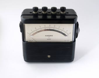Vintage Weston multi-range DC ammeter - Bakelite case - made in Newark NJ