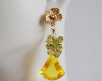 Mothersdaysale Yellow Quartz Gemstone Cluster Dangle Earrings -August Birthstone Jewelry -Birthstone Earrings Yellow quartz peridot cluster