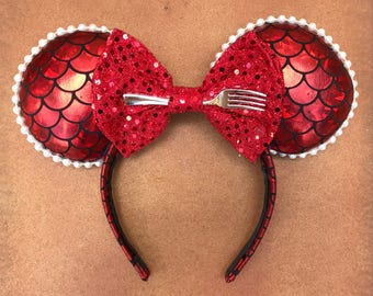 SALE - Red Mermaid Scale Minnie Mouse Ears