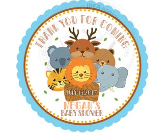 """Custom Zoo Animals Stickers- Safari 2.5"""" STICKERS-Thank you Stickers- Personalized Zoo Animal Heads Theme Stickers 2.5 inches"""