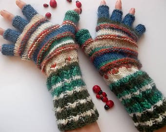 Women Size L 20% OFF Ready To Ship Half Fingers Wool Mittens Wrist Warmers Men Winter Unisex Gloves Hand Knitted Striped Multicolor Arm 1275