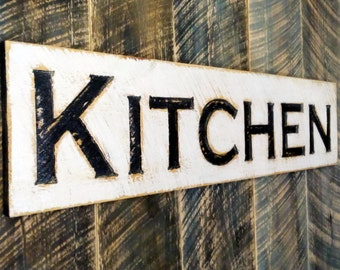 Kitchen Sign - Carved in a Cypress Board Rustic Distressed Farmhouse Style Restaurant Cafe Wooden Wood Gift