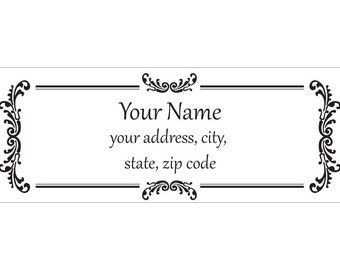 Set of 30 Personalized Return Address Labels vintage look pattern