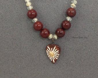 Daisy Burst Necklace, Stoneware Pendant, Brecciated Jasper, Glass Beads, Antiqued Brass