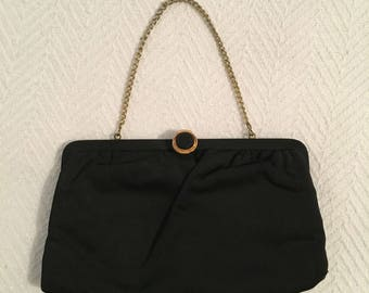 Vintage 1960s Black Fabric Evening Bag - Converts to Clutch - Made in USA