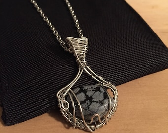 Snowflake Obsidian Pendant. / Wire Wrapped Necklace