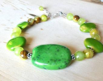Green Bracelet, Kazuri Bracelet, Sterling Silver Bracelet, Statement Bracelet, Gemstone Bracelet, Jade Bracelet, Gift for Her