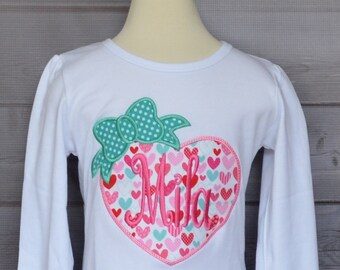 Personalized Valentine's Day Heart with Bow Applique Shirt or Bodysuit Girl or Boy