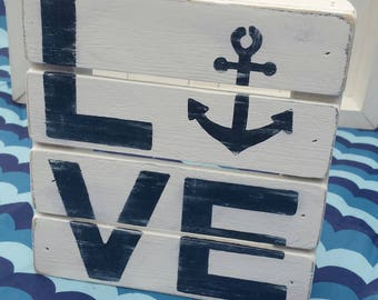LOVE With ANCHOR Wood Sign White/Blue Home Cottage Nautical