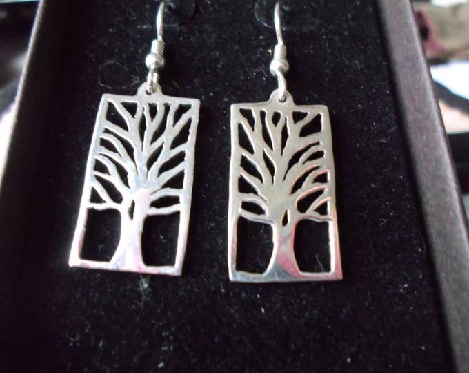 Rectangle tree earrings