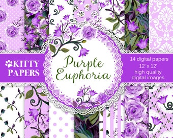 """Purple digital paper : """"Purple Euphoria"""", floral digital paper in pink and purple, flower backgrounds for scrapbooking, decoupage, invites"""