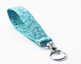 Fabric Keychain, Key Fob, Wristlet Lanyard, Aqua Branch and Berry Print