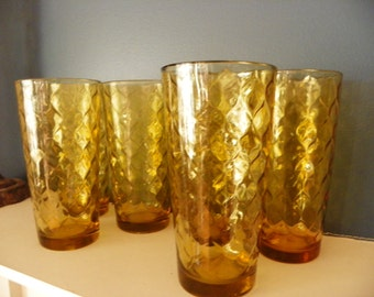 Vintage Anchor Hocking Amber Gold Pitcher and Tumblers