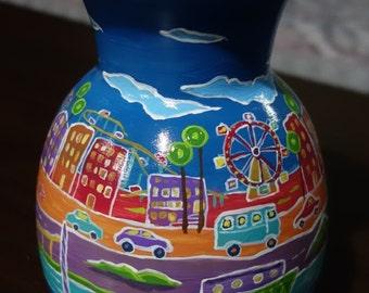 Art porcelain vase, Hand painted & decorated with permanent Acrylic color unique