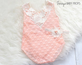 Lace Romper, Baby Props, Baby Photography,Newborn Photography,Lace Prop,Peach Romper,3-6mo,Sitters,Overalls,Neutral,Pastel,Zoraya Baby Props